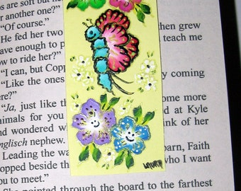 Hand-painted Magnetic Bookmark - Flowers, a Butterfly and Daisies - No. 1053
