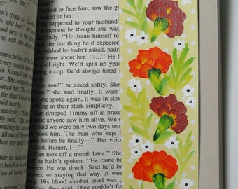 Hand-painted Magnetic Bookmark - Marigolds and Daisies - No. 1079