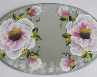 Hand Painted Oval Table Mirror - Enamel Paint - Pink Flowers - 486
