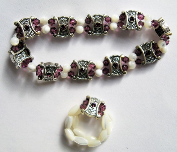 Amethyst Swarovski Crystal & Mother of Pearl Beads - Bracelet and Ring set - B101 and R149