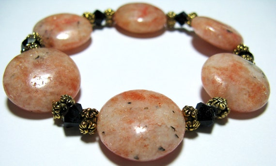 Sunstone, Jet Swarovski Crystal and Pewter Bracelet - B112
