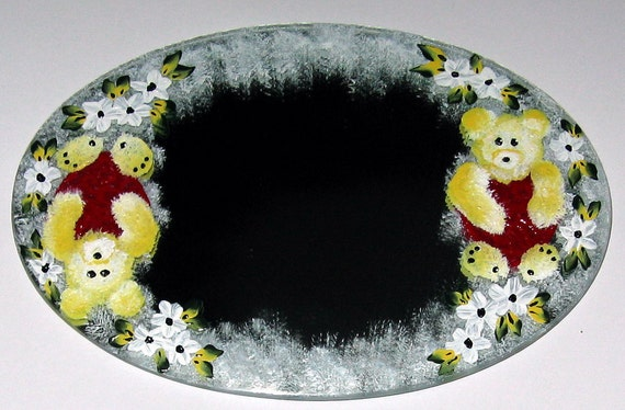Hand Painted Oval Table Mirror - Enamel Paint - Yellow Teddy Bear, Heart and Daisies - 1020