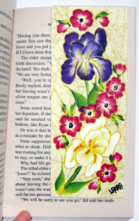 Hand-painted Magnetic Bookmark - Iris's and Pink Flowers - No. 1091