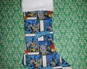 BATMAN COMIC Christmas Stocking, Holiday Decor, Superhero JLA Blue White - forbiddenfruit