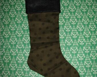 OLIVE GREEN Polka Dot Christmas Stocking