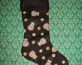 CUTE OWLS and FLOWERS Christmas Stocking