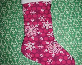 PINK SNOWFLAKE Polka Dot Christmas Stocking