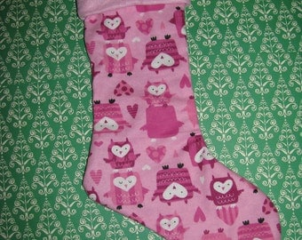 PRETTY PINK OWLS and Hearts Christmas Stocking