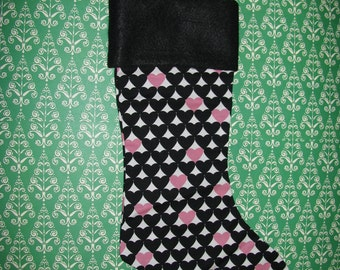 PINK and BLACK HEARTS Christmas Stocking