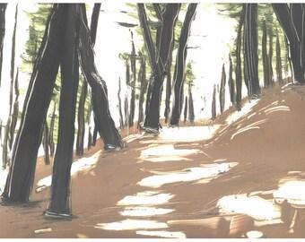 Trail Morning Light original hand printed monotype
