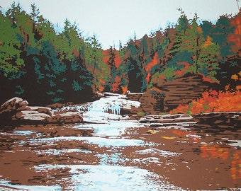 Swallow Falls Autumn screenprint in 9 colors