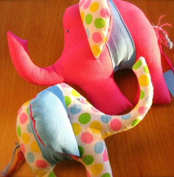 FREE Shipping - Mama and Baby Elephant Eco Softie Set Handmade by Maiden Love - Custom Made