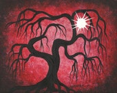 Red Willow tree, Sun, ART, Original Acrylic painting by Jordanka Yaretz