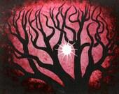 Red Forest, TREES, Sun, Original fine art, Acrylic painting by TREEARTIST on ETSY, Jordanka Yaretz