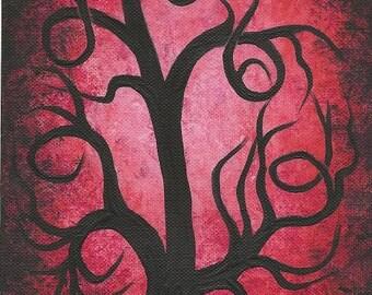 Red curly TREE , Red, Tree painting, tree, original fine art, acrylic painting by Jordanka Yaretz