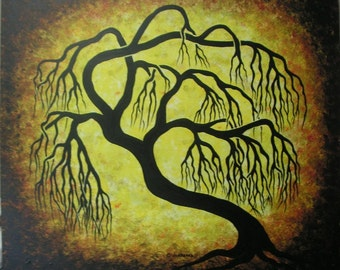 Golden willow tree , Tree Art, Original acrylic one of a kind painting, FREE SHIPPING