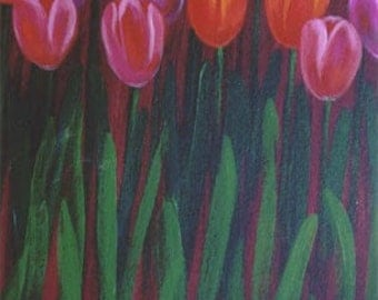 Tulips, Flower painting, Original Acrylic painting on canvas by Jordanka Yaretz