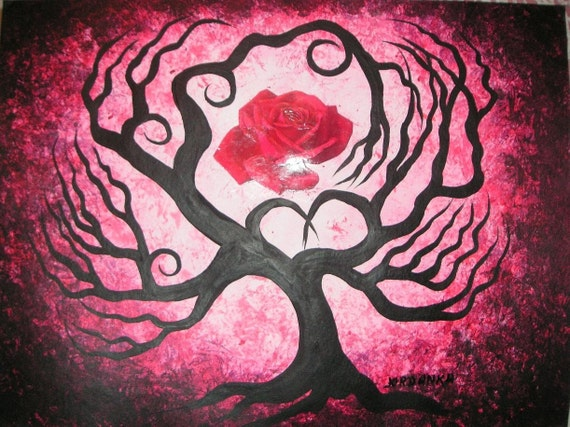 Valentine's Day,Rose tree, Original fine art,Acrylic painting by TREEARTIST on ETSY,Jordanka Yaretz