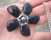 Whimsical Sparkly Blue Goldstone Teardrop Beaded Flower Pendant Necklace