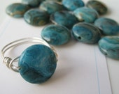 Pick your stone and ring size  Larimar Blue CLA Puff Coin Ring