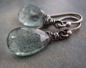 Oxidized Sterling Silver Wire Wrapped Moss Aquamarine Briolette Earrings