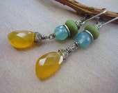 African Opal Glass and Chalcedony Earrings