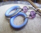 Periwinkle Glass Ring & Amethyst Earrings
