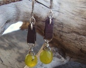Silver Wire Wrapped Olive Jade Suede Earrings