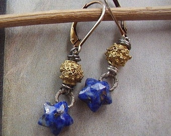 Lapis Star and Brass Earrings