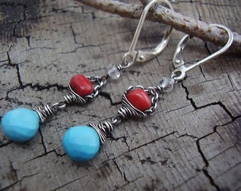Bamboo Coral and Tibetan Turquoise Earrings
