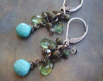 Turquoise Apatite and Crystal Earrings