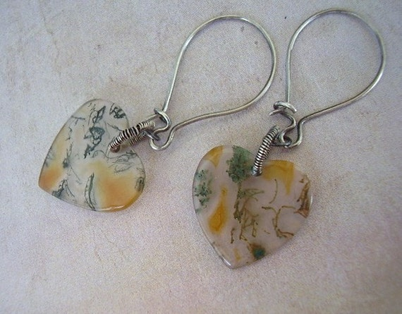 Moss Agate Heart Earrings