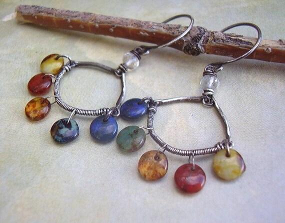 Colorful Glass Swing Earrings