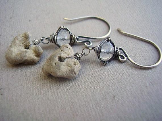 White Topaz & River Stone Earrings