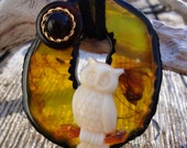 Hoot Owl in the Hollow Upcycled Vintage Components Pendant Necklace