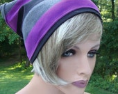 Striped Cotton Lycra Retro Style Headscarf Size XL in Black Grey & Purple