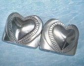 Two Hearts Beat As One Vintage Solid Pewter Double Womans  Belt Buckle
