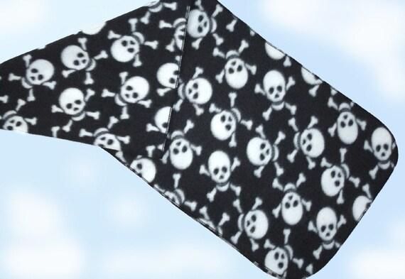 Gothic Skull & Crossbones On Black Long Fleece Scarf UNISEX