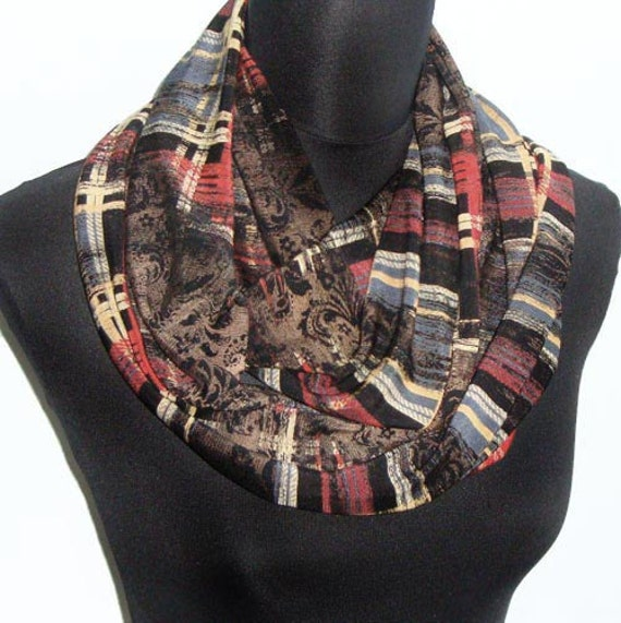 Plaid Jersey Infinity Circle Scarf in Deep Rich Colors All Season Accessory
