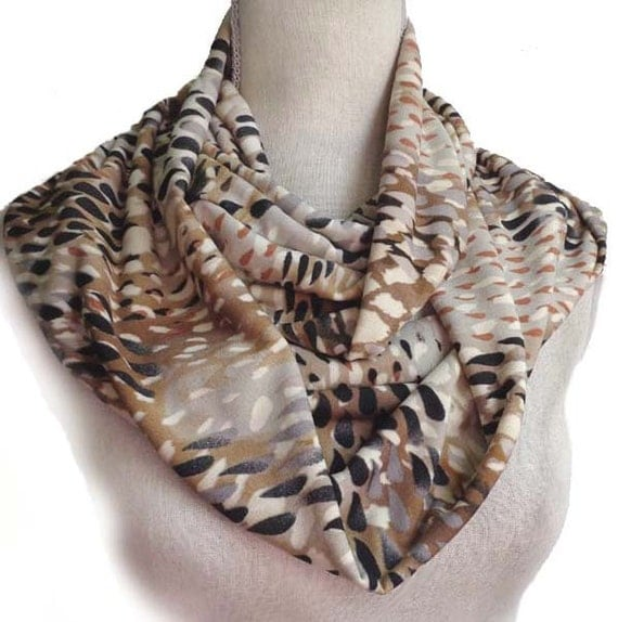 Artsy Raindrops Warm Colors Long Infinity Scarf in a Silky Soft Lycra Cowl Eternity Snood