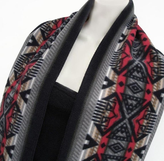 Southwestern Navajo Print Long Fleece Scarf in shades of  Red Grey and Black UNISEX