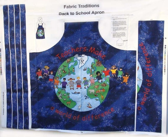 Children of the world teacher apron fabric panel easy sew for for Children of the world fabric