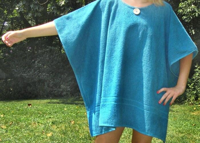 Bath And Beach Hefty Terry Cloth Caftan Cover Up In Teal Blue