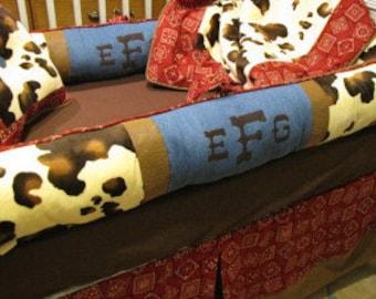 Custom Crib Bedding set   Cowboy Theme with Paisley, Denim and Cow Fabric