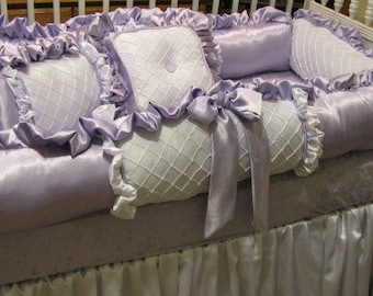 Custom crib set  Lavender and White Nursery Bedding for baby Girls