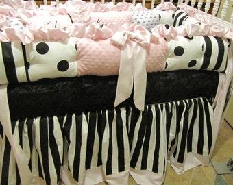 Custom Crib  luxury  Black White PINK Bedding