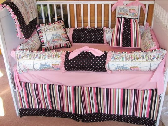 items similar to custom crib bedding set paris pinks black decorator fabrics on etsy. Black Bedroom Furniture Sets. Home Design Ideas