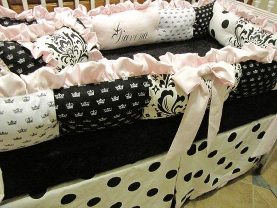 Custom  Crib Set Black white and Pink Dots  And Crowns for Holly A. only Listing 4