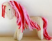 Pink Stuffed Animal, Earth pony Waldorf Toy Horse hand knit artisan plush wild pony friend