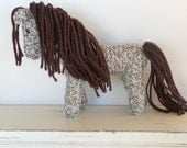 Waldorf Toy Stuffed Animal Horse, Earth Pony, hand knit plush wild pony friend, natural and eco friendly